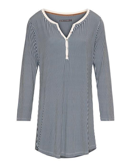 Essenza Acacia Striped Indigo blue Nightdress long sleeve XS
