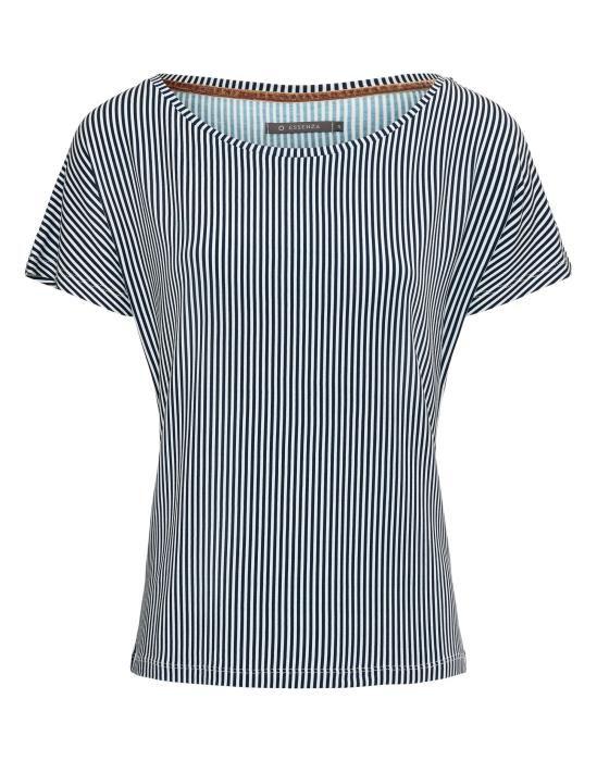 Essenza Ellen Striped Indigo blue Top Short Sleeve XS