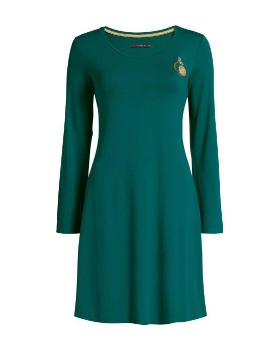Essenza Elm Uni Emerald Nightdress long sleeve XS