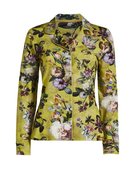 ESSENZA Fenna Fleur Golden yellow Pyjama top long sleeve XS