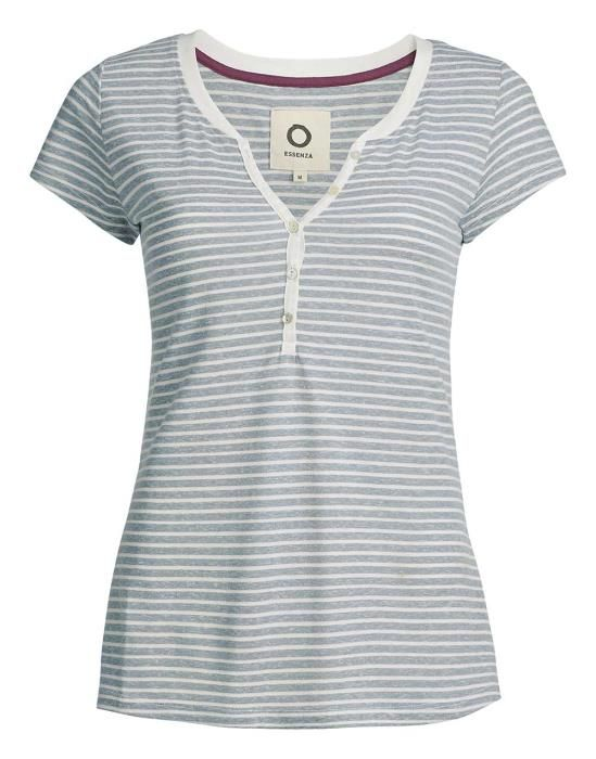 Essenza Jimmies Stripe Faded Blue Top Short Sleeve XS