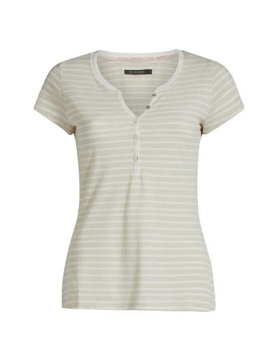 Essenza Jimmies Stripe Stone Top Short Sleeve XS