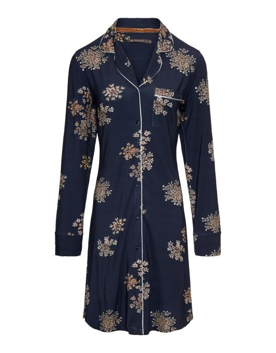 Essenza Laka Lauren Indigo blue Nightdress long sleeve XS