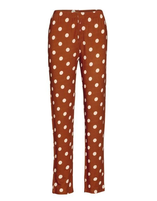 Essenza Lindsey Dot Leather Brown Trousers Long XS