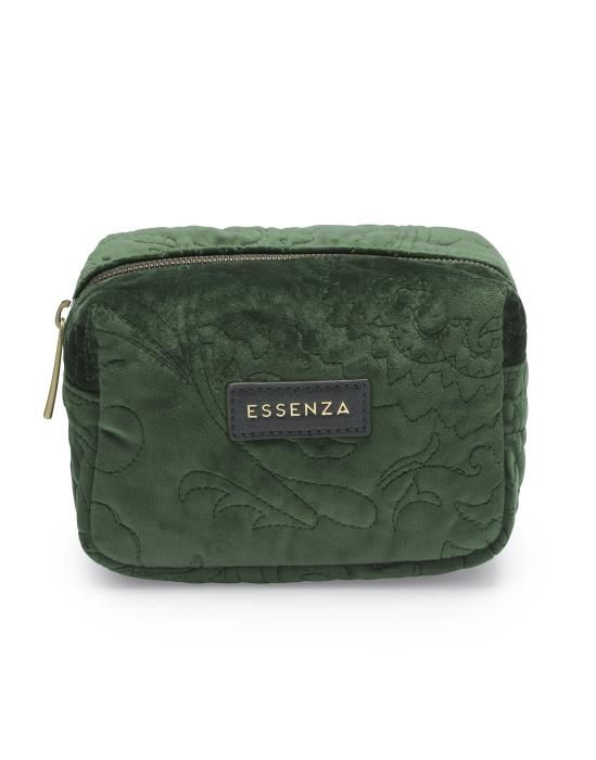 Essenza Lucy Velvet Green Make-up Bag Small
