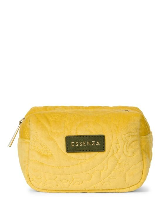 Essenza Lucy Velvet Mustard Make-up Bag Small