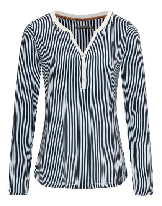 Essenza Opal Striped Indigo blue Top Long Sleeve XS