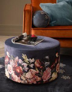 ESSENZA Anneclaire Indigo Blue Samthocker 40 x 40 x 43 cm