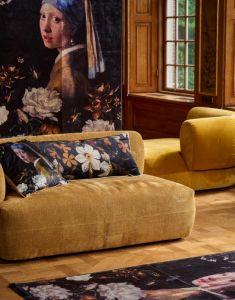 ESSENZA Daffodils Reunited Black Cushion square 50 x 50