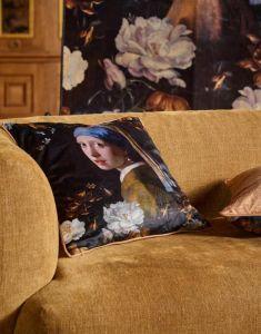 ESSENZA Floral Girl Black Cushion square 50 x 50