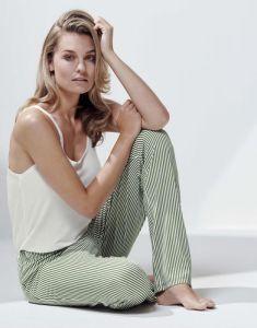ESSENZA Lindsey Striped Laurel Green Trousers Long L