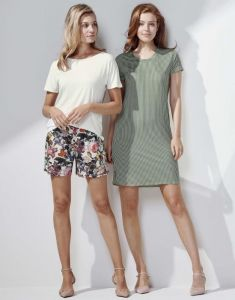 ESSENZA Loreen Striped Laurel Green Nightdress short sleeve XS
