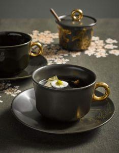 ESSENZA Masterpiece Dark Green Coffee cup & saucer 22 cl