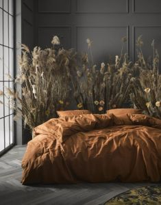 ESSENZA Minte Leather Brown Bettwäsche 135 x 200 cm