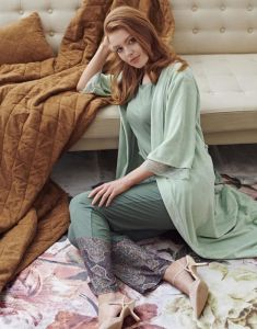 ESSENZA Naomi Giulia Laurel Green Trousers Long M