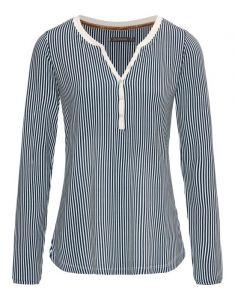ESSENZA Opal Striped Indigo Blue Top Langarm XL