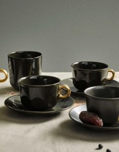 ESSENZA Sculpture Dark Green Coffee cup & saucer 22 cl