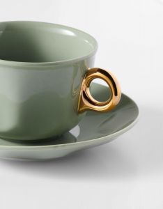 ESSENZA Sculpture Stone green Coffee cup & saucer 22 cl