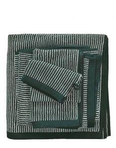 Marc O'Polo Timeless Tone Stripe Pine Green / Off White Handtuch 50 x 100 cm