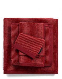 Marc O'Polo Timeless Tone Stripe Deep Rose / Warm Red Waschhandschuhe 16 x 22 cm